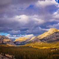 Landscape and clouds in Yosemite National Park, California