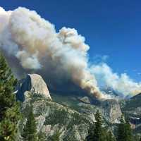 Meadow wildfire in the landscape of Yosemite Valley, California