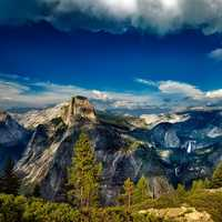 Mountain Landscape under blue sky at Yosemite National Park, California