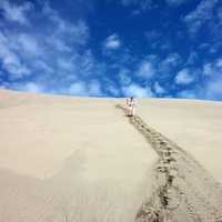 Person with walking stick standing on the sand dunes under blue sky