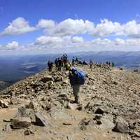 Hikers at the Summit at Mount Elbert, Colorado