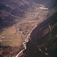 Aerial view of newly cut Boomerang Road in Telluride, Colorado