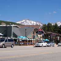 Downtown Winter Park with the Continental divide in the background