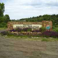 Sign for Pagosa Springs in Colorado