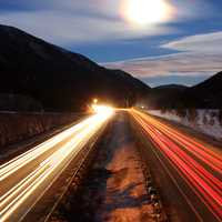 Streaks of Lights on the Colorado Road