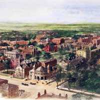Richard Rummell's 1906 watercolor of the Yale campus in New Haven, Connecticut