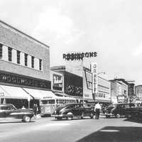 Downtown on East Main Street in 1954 in Waterbury, Connecticut