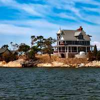 Houses on the Thimble Islands in Connecticut