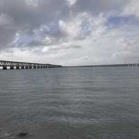 Water, bridge, sky, and clouds in Bahia Honda State Park