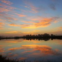 Sunset and Dusk Skies over the water at Big Cypress National Preserve