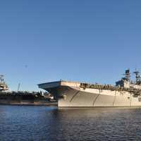 USS Bataan leaving port in Jacksonville, Florida