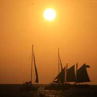 Boats under the fading sun at Key West, Florida