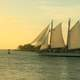 Ships sailing into the sunset at Key West, Florida