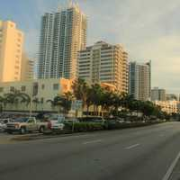 Looking down the street in Miami, Florida