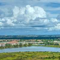 Landscape with clouds in Orlando, Florida with lake