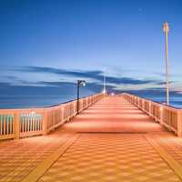 Bridge Walkway over the Ocean in Panama City, Florida
