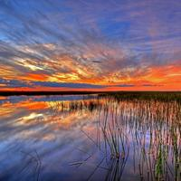 Dusk and sunset over the lagoon in Florida