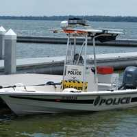 Police boat at the dock at Tavares, Florida