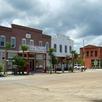 Street in Apalachicola showing the Dixie Theatre in Apalachicola, Florida