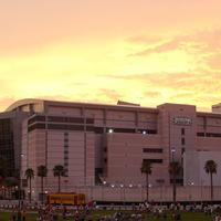 Amalie Arena in Tampa, Florida Sunset