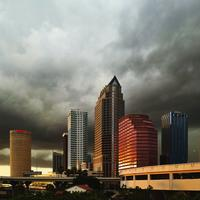 Skyline of Tampa, Florida with Clouds