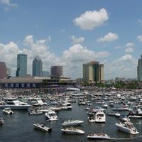 Tampa skyline with ships in the harbor in Florida