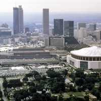 Atlanta skyline with Olympic-sports-complexes in Georgia