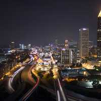 Cityscape with night lights with roads and skyscrapers in Atlanta, Georgia