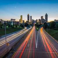 Lights and traffic on the roadways in Atlanta, Georgia