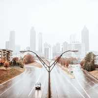 Rainy day Skyline with highways in Atlanta, Georgia