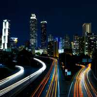 Skyline with lights and roads in Atlanta, Georgia