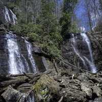 Anna-Ruby Falls landscape in Chattahooche-Oconee national forest