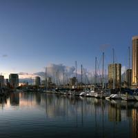 Boats and Towers at the dock in Honolulu, Hawaii