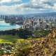 Cityscape with buildings and coastal landscape in Honolulu, Hawaii