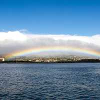 Rainbow over Honolulu, Hawaii seascape
