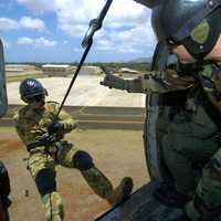 Airborne Troops practicing on a Helicopter in Wheeler Army Airfield, Hawaii