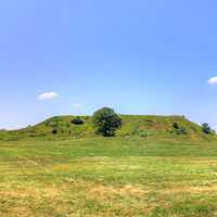 Monk's Mound in the distance at Cahokia Mounds, Illinois