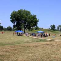 More tents and people at Cahokia Mounds, Illinois