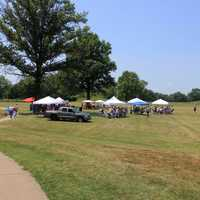 Tents on Archaeology Day at Cahokia Mounds, Illinois