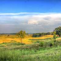 Scenic landscape of the valley and fields at Chain O Lakes State Park, Illinois