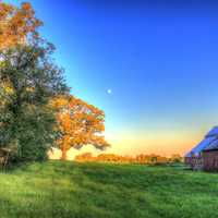 Barn and landscape at Charles Mound, Illinois