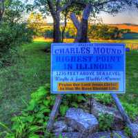Sign marking the top of Illinois at Charles Mound, Illinois