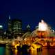 Chicago Fountain and skyline at night