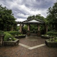 Gazebo in the Chicago Botanical Gardens under stormy Skies