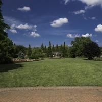 Grass landscape under blue skies in Chicago Botanical Gardens