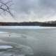 Freezing lake at Shabbona Lake State Park, Illinois