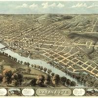 Bird's Eye View of Lafeyette, Indiana in 1868