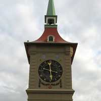 Clock tower in downtown Berne in Indiana