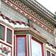 Detail of Victorian facade downtown decorations in Kendallville, Indiana