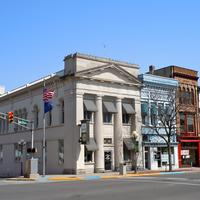 Downtown Plymouth buildings in Indiana